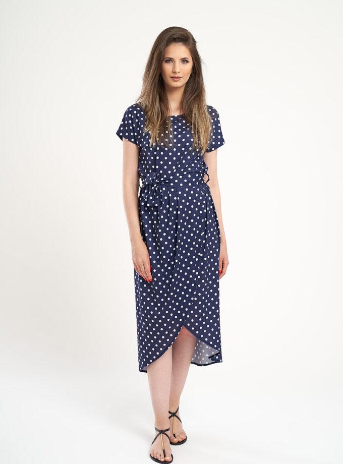 rochie de zi cu buline și cordon
