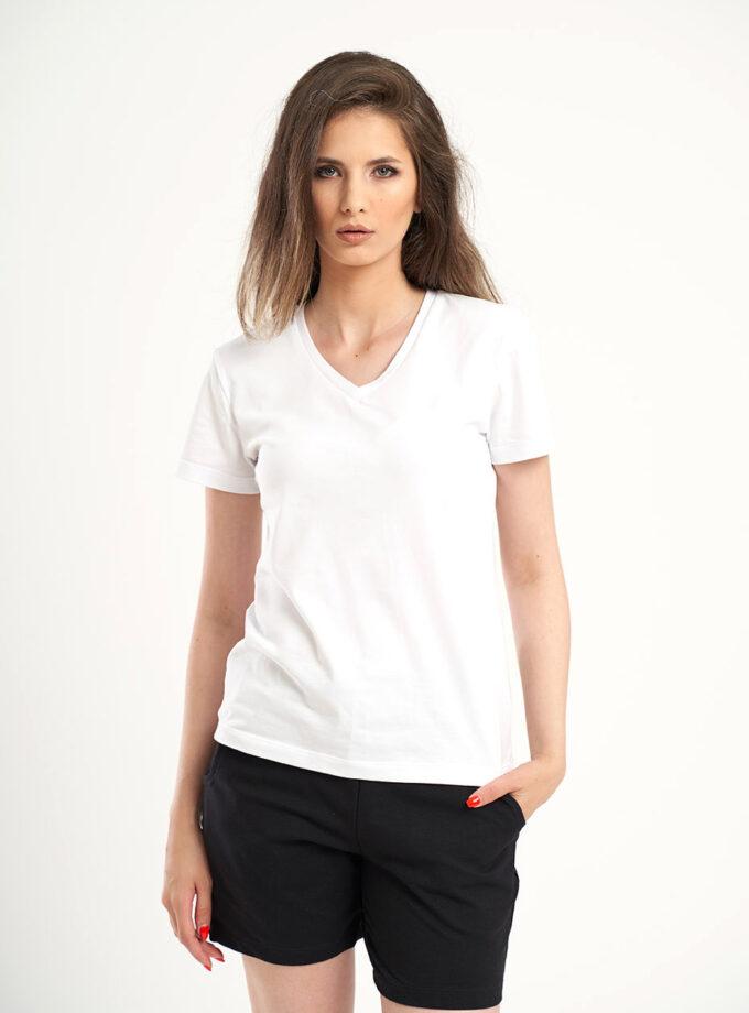 tricou alb cu decolteu in V