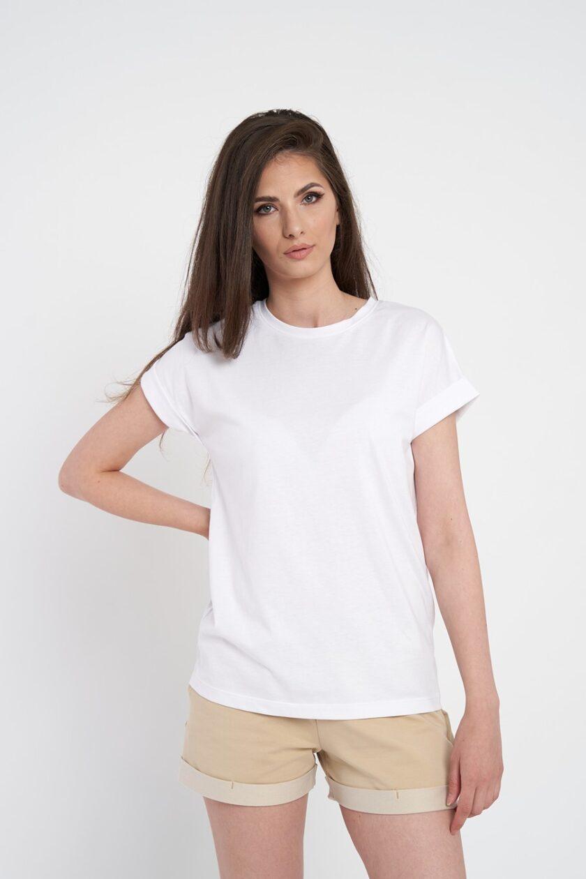 tricou dama oversize alb