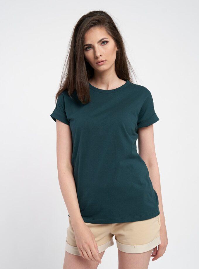 tricou dama oversize verde inchis, din bumbac