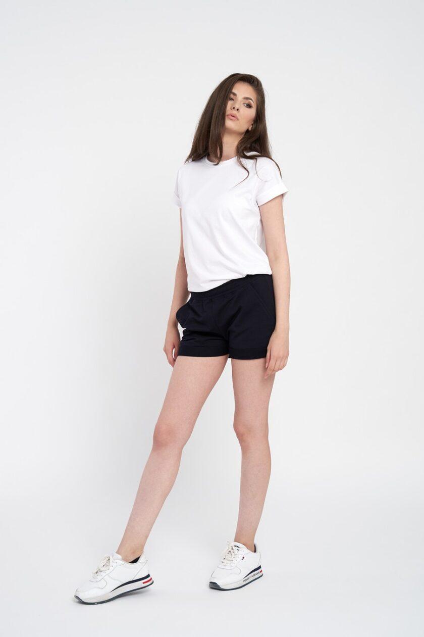 Pantaloni scrurti dama bleumarin