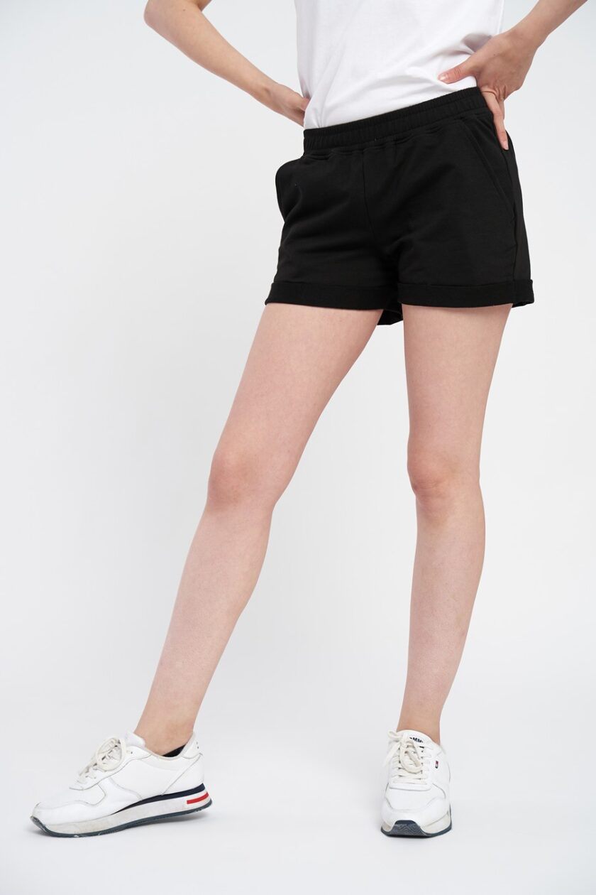 pantaloni scurti dama negri din bumbac