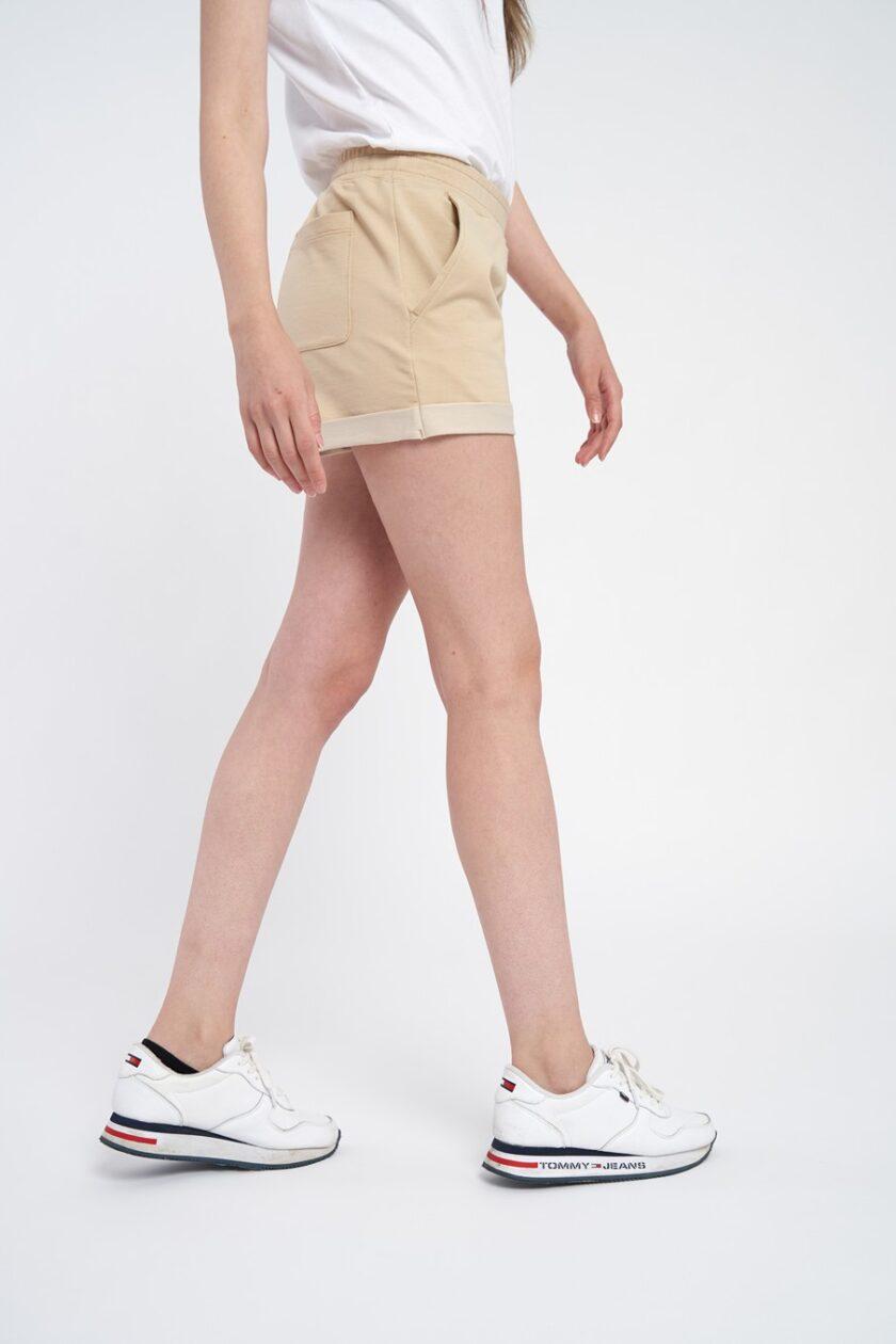 pantaloni scurti dama crem, din bumbac