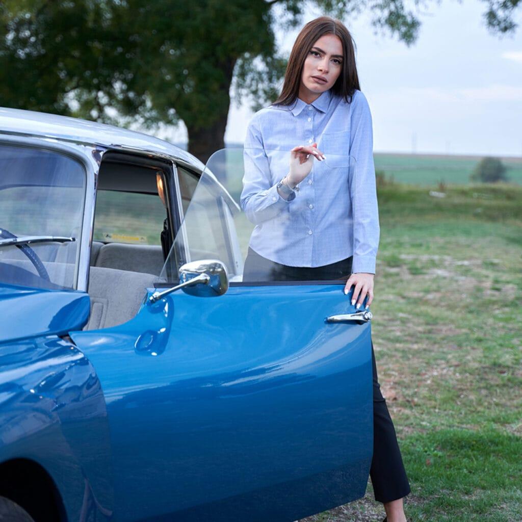 Camasa dama albastra din bumbac