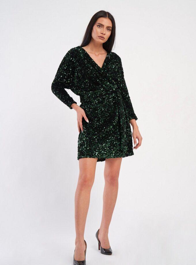 Rochie de paiete verde smarald